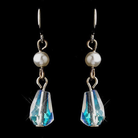 Silver White Czech Glass Pearl & Swarovski Crystal Bead Drop Bridal Wedding Earrings 8675