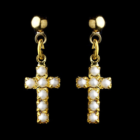 Gold White Pearl Cross Dangle Bridal Wedding Earrings 8684