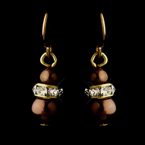 Gold Brown Czech Pearl & Clear Rhinestone Rondelle Drop Bridal Wedding Earrings 8805