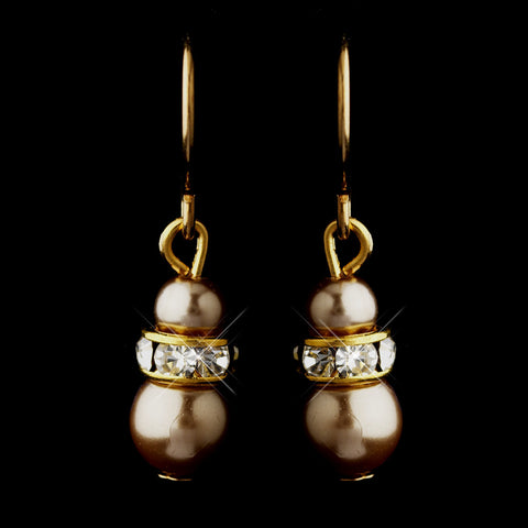 Gold Light Brown Czech Pearl & Clear Rhinestone Rondelle Drop Bridal Wedding Earrings 8805