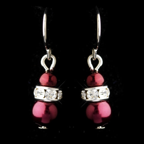 Silver Burgundy Czech Pearl & Clear Rhinestone Rondelle Drop Bridal Wedding Earrings 8805