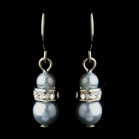 Silver Light Blue Czech Pearl & Clear Rhinestone Rondelle Drop Bridal Wedding Earrings 8805