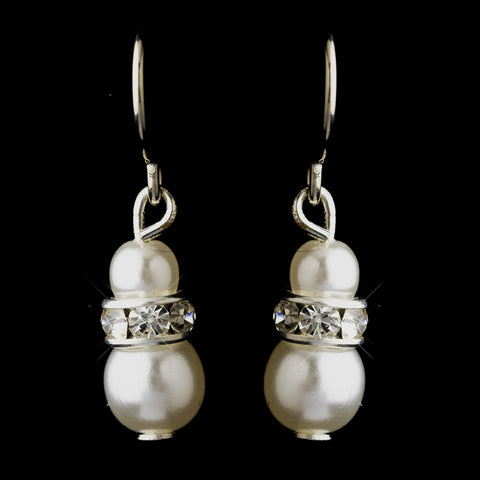 Silver White Czech Pearl & Clear Rhinestone Rondelle Drop Bridal Wedding Earrings 8805