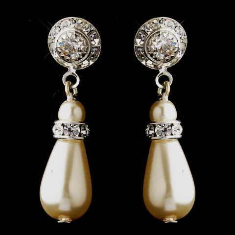Silver Ivory Glass Pearl & Rhinestone Drop Bridal Wedding Earrings 8827