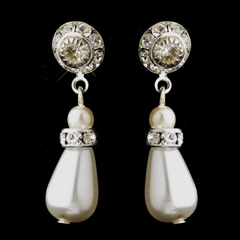 Silver White Glass Pearl & Rhinestone Drop Bridal Wedding Earrings 8827