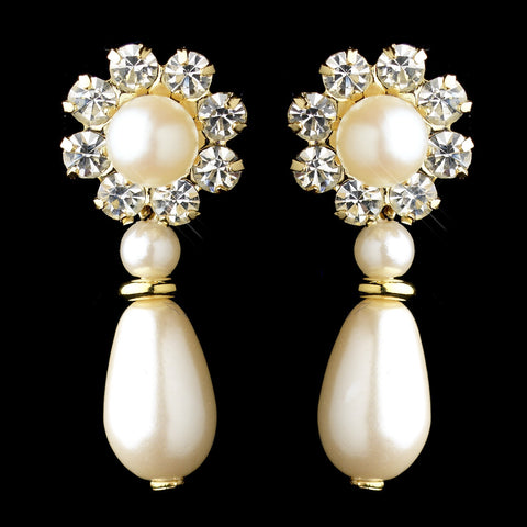 Gold Ivory Pearl & Clear Rhinestone Floral Drop Bridal Wedding Earrings 9061