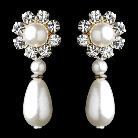 Silver White Pearl & Clear Rhinestone Floral Drop Bridal Wedding Earrings 9061