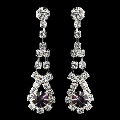 Silver Amethyst & Clear Rhinestone Dangle Bridal Wedding Earrings 9381