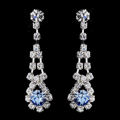 Silver Aqua & Clear Rhinestone Dangle Bridal Wedding Earrings 9381