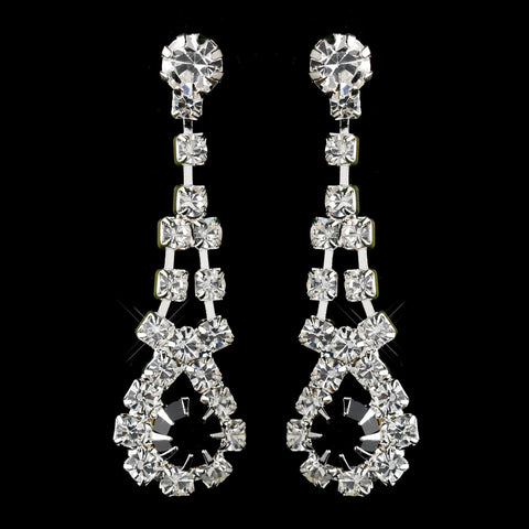 Silver Black & Clear Rhinestone Dangle Bridal Wedding Earrings 9381