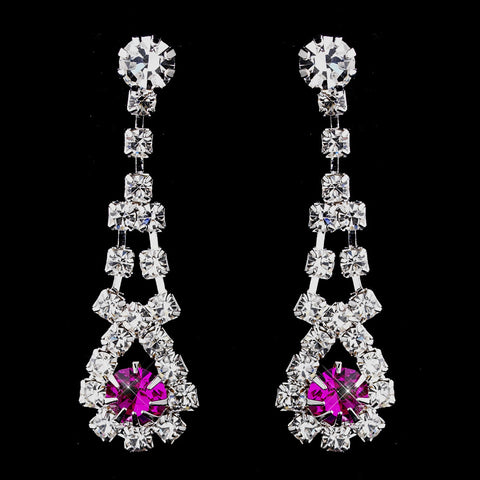 Silver Fuchsia & Clear Rhinestone Dangle Bridal Wedding Earrings 9381