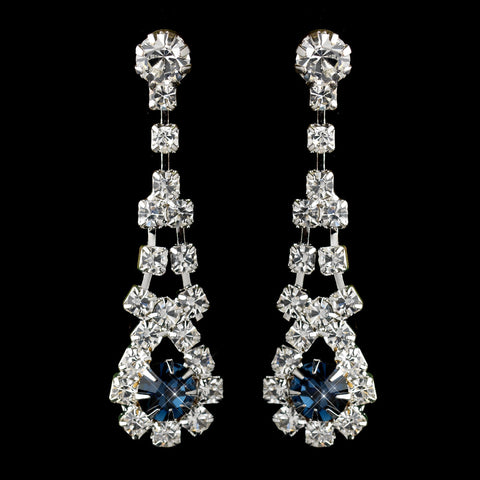 Silver Navy & Clear Rhinestone Dangle Bridal Wedding Earrings 9381
