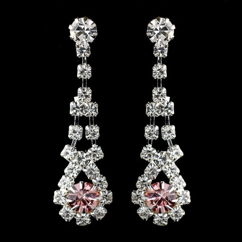 Silver Pink & Clear Rhinestone Dangle Bridal Wedding Earrings 9381