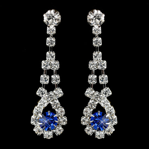 Silver Sapphire & Clear Rhinestone Dangle Bridal Wedding Earrings 9381