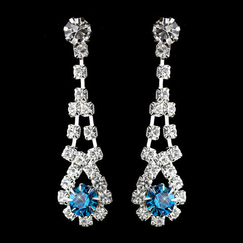 Silver Teal & Clear Rhinestone Dangle Bridal Wedding Earrings 9381