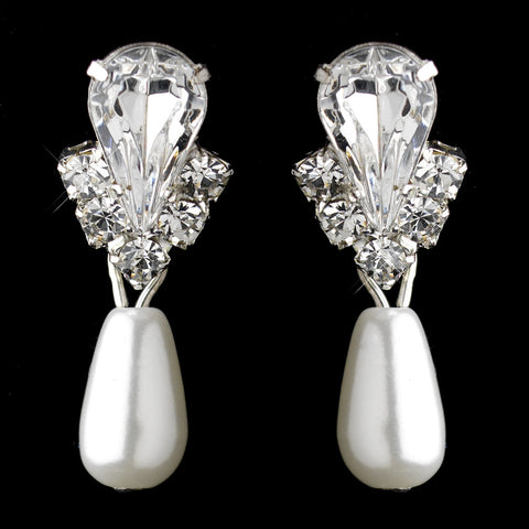 Silver White Pearl & Clear Teardrop Rhinestone Drop Bridal Wedding Earrings 9631