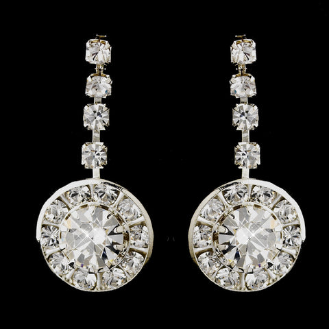 Silver Clear Round Rhinestone Drop Bridal Wedding Earrings 9800