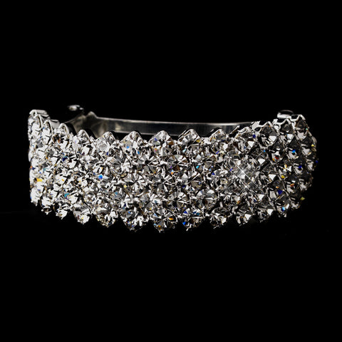 Silver Clear 5 Row Rhinestone Ponytail Bridal Wedding Hair Barrette 0140