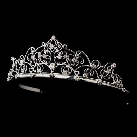 Silver Clear Rhinestone Swirl Bridal Wedding Tiara 0266