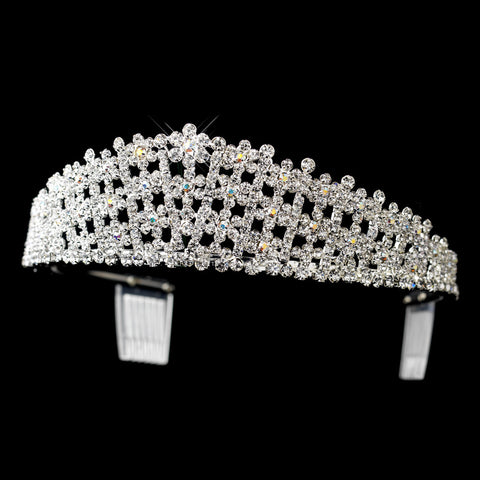 Silver AB & Clear Round 3 Row Rhinestone Bridal Wedding Tiara Headpiece 0792