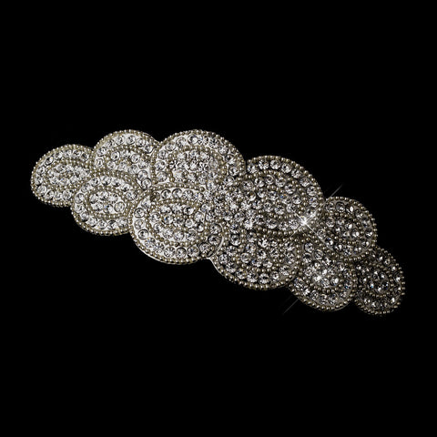 Antique Silver Rhodium Clear Rhinestone Swirl Bridal Wedding Hair Barrette 1123
