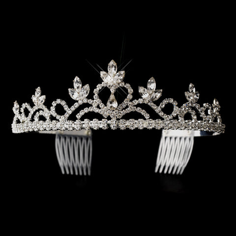Silver Clear Navette & Round Rhinestone Heart Bridal Wedding Tiara Headpiece 1222