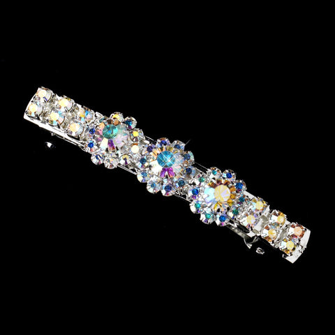 Silver AB Round Rhinestone Bridal Wedding Hair Barrette 1415