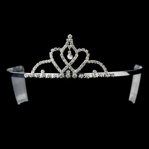 Silver Clear Rhinestone Heart Bridal Wedding Tiara Headpiece 1814