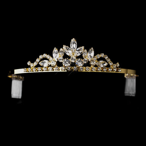 Gold Clear Navette & Round Rhinestone Bridal Wedding Tiara Headpiece 1918