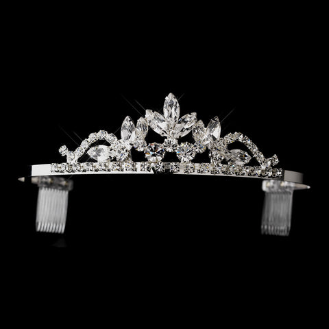 Silver Clear Navette & Round Rhinestone Bridal Wedding Tiara Headpiece 1918