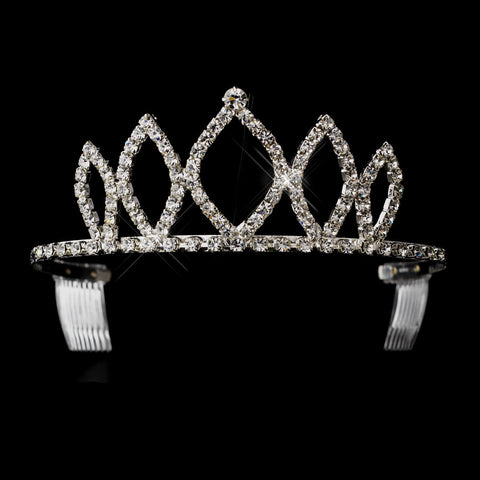 Silver Clear Rhinestone Bridal Wedding Tiara Headpiece 2235