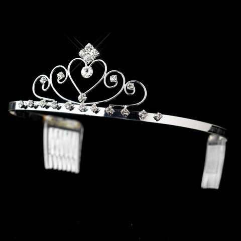 Silver Clear Rhinestone Wired Heart Bridal Wedding Tiara Headpiece 2572