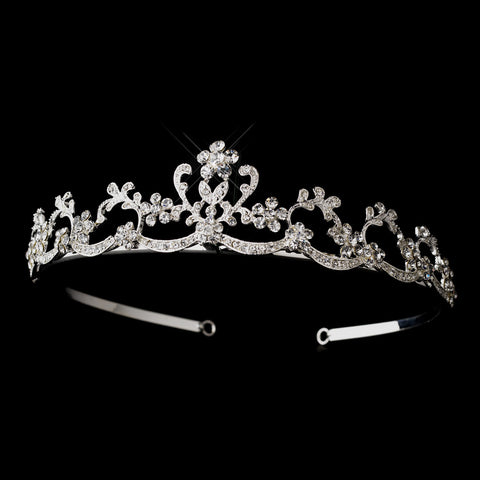 Silver Clear Rhinestone Swirly Floral Bridal Wedding Tiara Headpiece 3195