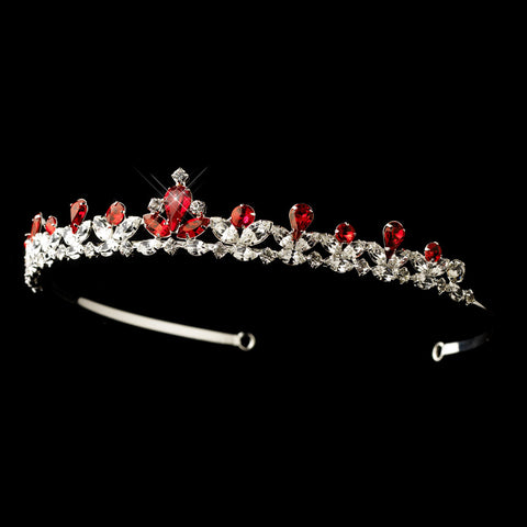 Silver Red & Clear Rhinestone Princess Bridal Wedding Tiara Headpiece 3244