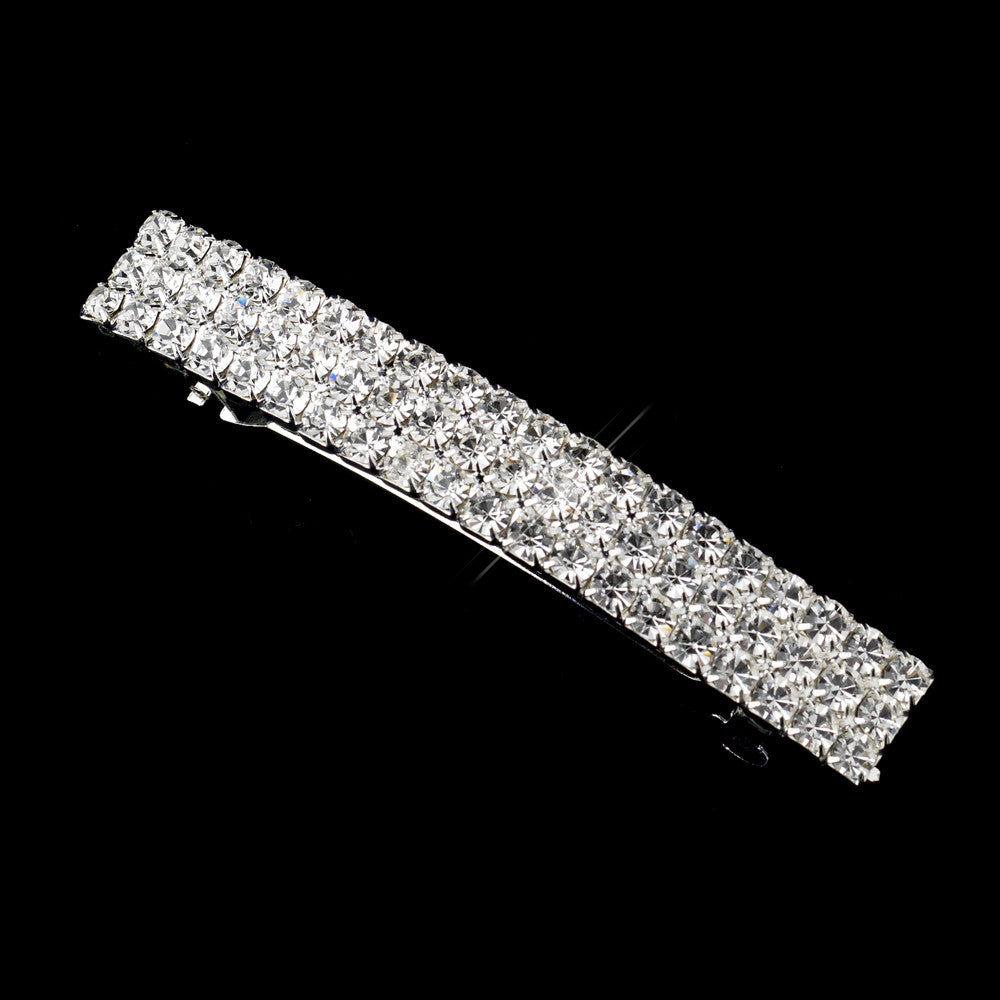 3 Row Silver Clear Rhinestone Bridal Wedding Hair Barrette 4045