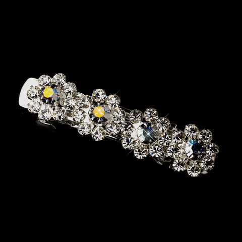 Silver AB & Clear Rhinestone Bridal Wedding Hair Barrette 4699