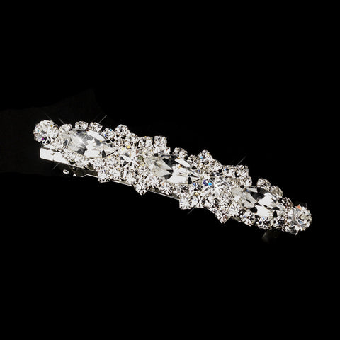 Silver Clear Marquise & Clear Rhinestone Criss-Cross Pattern Bridal Wedding Hair Barrette 4745