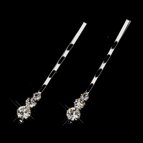 Silver Clear Graduated Round Rhinestone Bobby Pins 4801 (Set of 2)