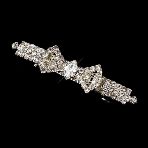 Silver Clear Rhinestone Bow Bridal Wedding Hair Barrette 6276