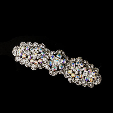 Antique Silver Rhodium AB & Clear Rhinestone Floral Bridal Wedding Hair Barrette 6500