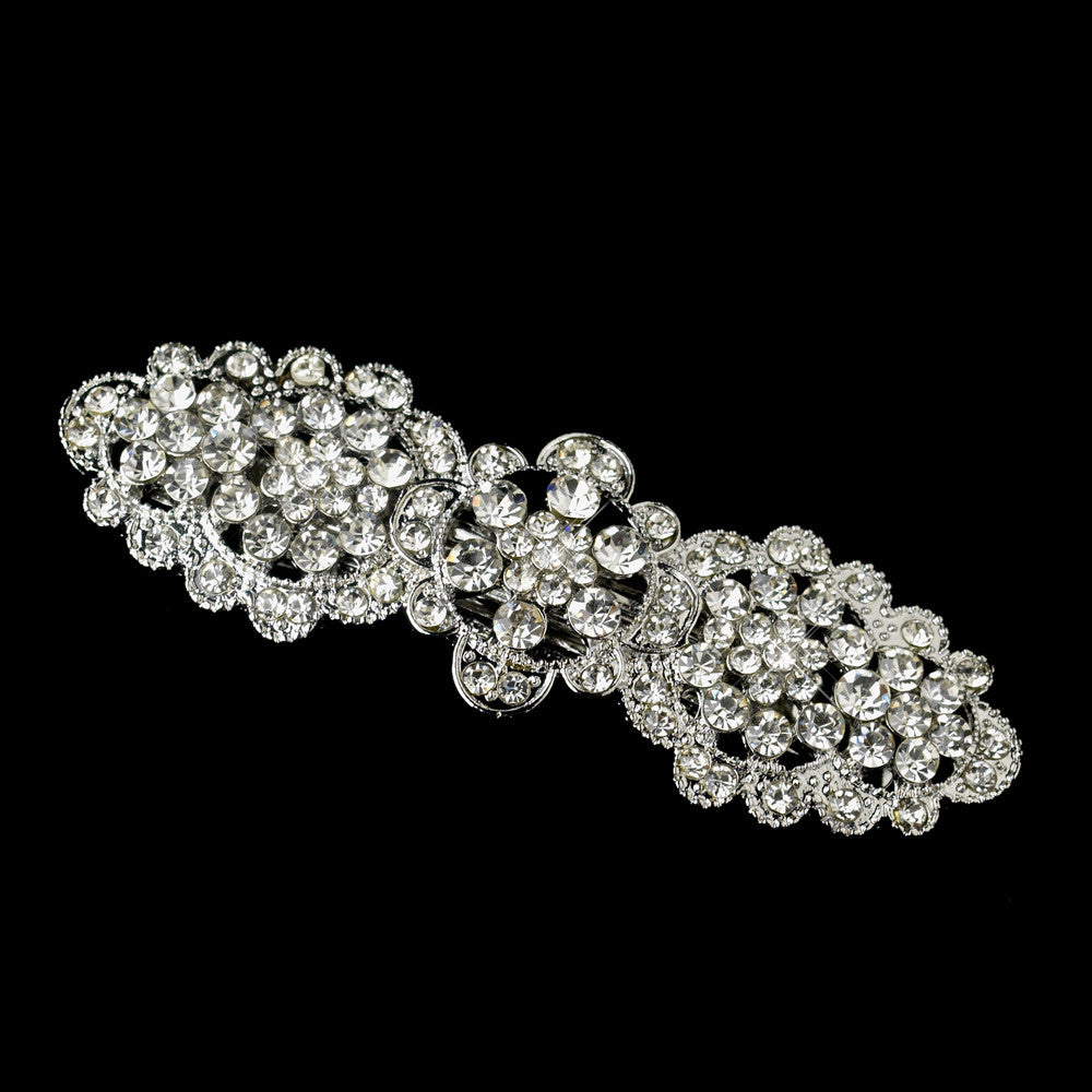 Antique Silver Clear Rhinestone Bridal Wedding Hair Flower Bridal Wedding Hair Barrette 6500