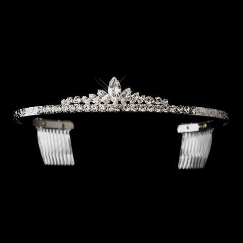 Silver Clear Round & Navette Bridal Wedding Tiara Bridal Wedding Hair Comb 9085