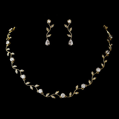 Gold Clear CZ Crystal Bridal Wedding Necklace 0112 & Bridal Wedding Earrings 0116 Bridal Wedding Jewelry Set