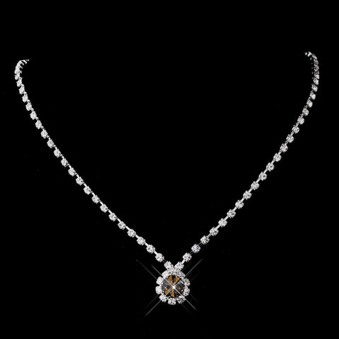 Silver Brown & Clear Round Rhinestone Bridal Wedding Necklace 0511
