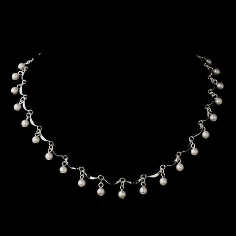 Silver White Pearl Dangle Bridal Wedding Necklace 0991