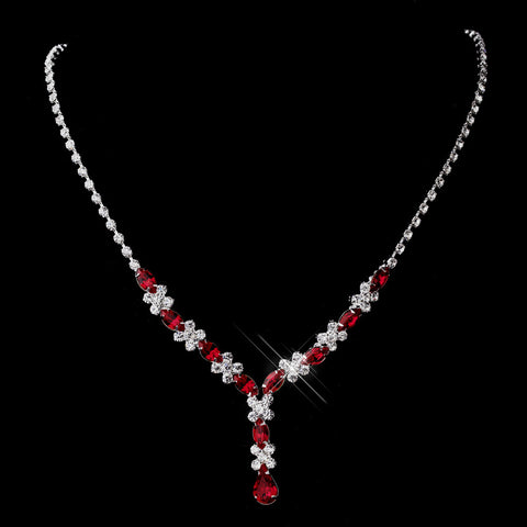 Silver Red & Clear Marquise Bridal Wedding Necklace 1007