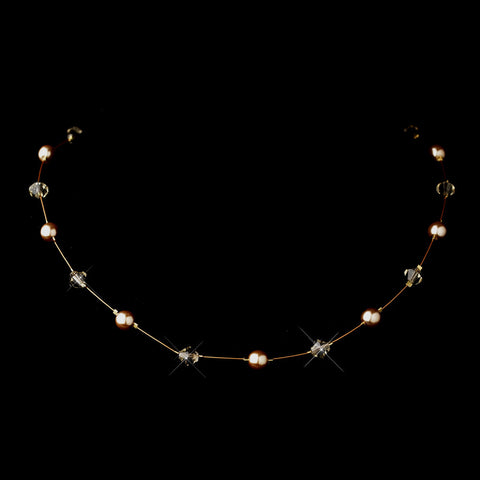 Gold Light Brown Illusion Czech Glass Pearl & Swarovski Crystal Bead Bridal Wedding Necklace 2031