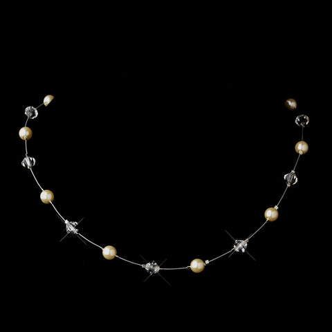 Silver Ivory Illusion Czech Glass Pearl & Swarovski Crystal Bead Bridal Wedding Necklace 2031
