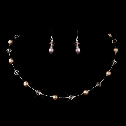Silver Pink Illusion Czech Glass Pearl & Swarovski Crystal Bead Bridal Wedding Necklace 2031