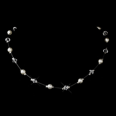 Silver White Illusion Czech Glass Pearl & Swarovski Crystal Bead Bridal Wedding Necklace 2031